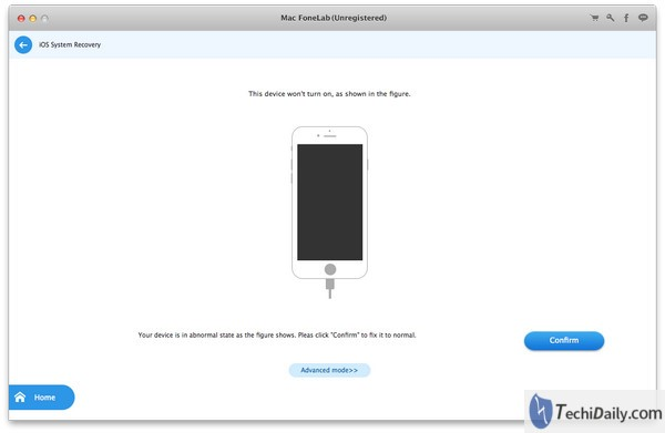 iOS System Recovery, Detect your abnormal mode on Mac