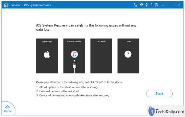 Récupération du système iOS Détectez le système de vos appareils sous Windows