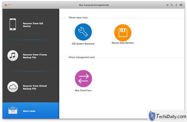 Interface principale de récupération du système iOS sur Mac