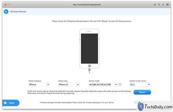 Récupération du système iOS, sélectionnez le modèle de votre appareil sur Mac
