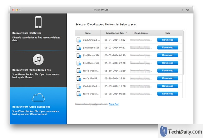 iOS Data Recovery, Recover from iCloud Backup File