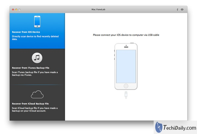 iOS Data Recovery Main Interface on Mac