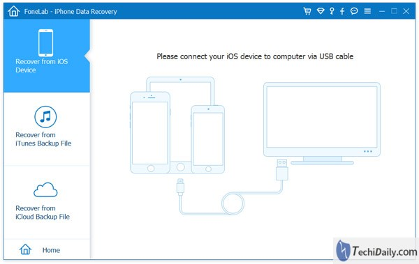 iOS Data Recovery Main Interface on windows