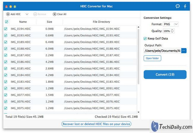 Choose HEIC on Mac