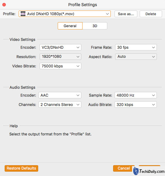Settings for AVCHD .MTS video files