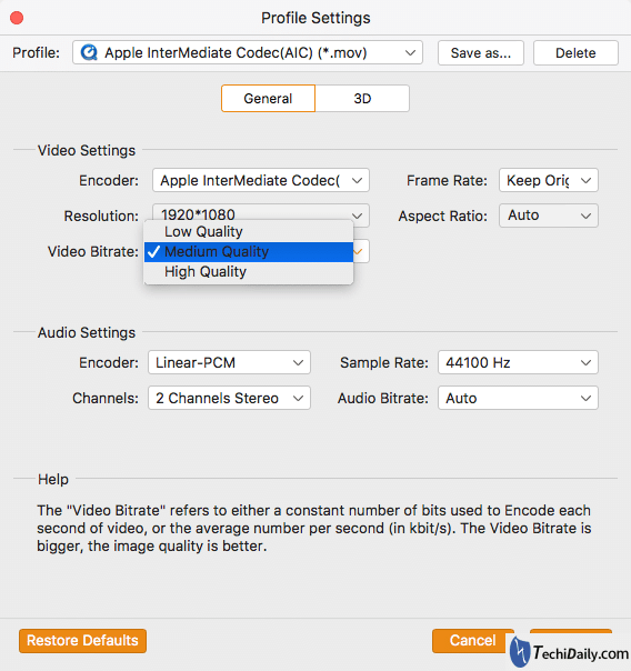 Settings for video files