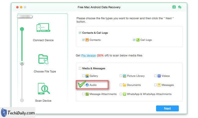 android data recovery select music