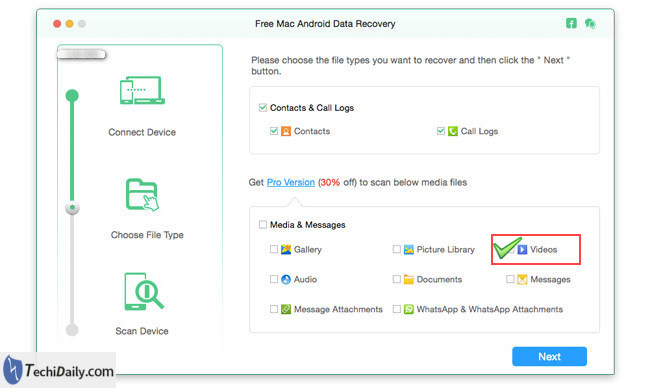 android data recovery select videos