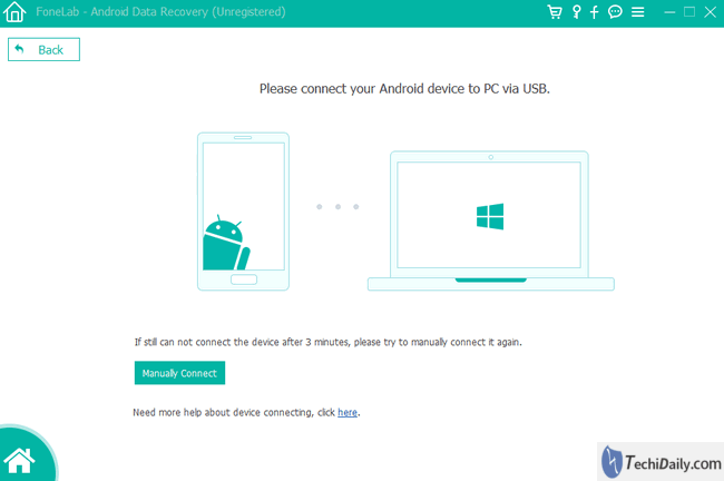 connection android data recovery windows