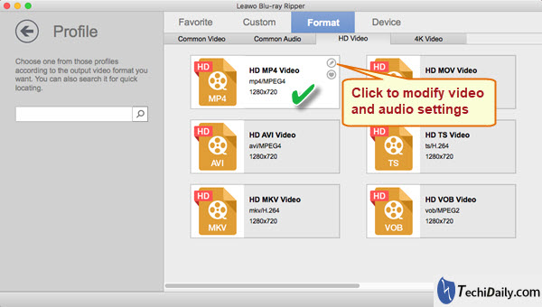 Select profile format for convert DVDs for viewing