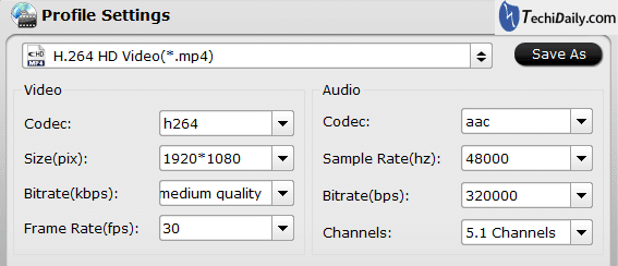 Profile format settings for convert Blu-ray movies for viewing